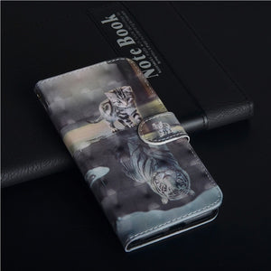 Etui Coque Cover Flip Case For Nokia 2 2.1 3 3.1 5 5.1 6 6.1 7 Plus 7.1 8.1 2018 with Tpu 3D Painted PU Leather Phone Wallet