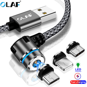 OLAF Magnetic 90 Degree Micro USB Type C Cable for Iphone 7 8 Plus X XS Max For Xiaomi Redmi note 7 Mi 8 For Samsung S8 S9 Plus