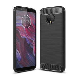 For Motorola G6 Plus Brushed Carbon Fiber Soft TPU back cover For Moto E4 G4 G5 G5S Shockproof Silicone Armor Case Moto C / X4