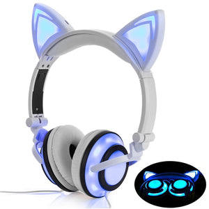 LIMSON Wired Folding Earphones Animal Cat Ear Headphones LED Flashing Gift for Kids Girls and Boys