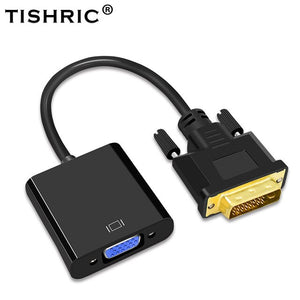 TISHRIC DVI-D DVI To VGA Adapter Video Cable Converter 24+1 25Pin DVI-D To VGA 15Pin Active 1080P For Projector TV PS3 PS4 PC
