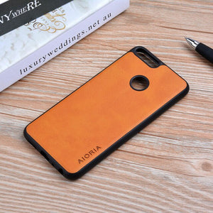 Case for Huawei P Smart 2018 funda Luxury Vintage Leather cover skin phone silicone coque for Huawei Enjoy 7S P Smart case capa