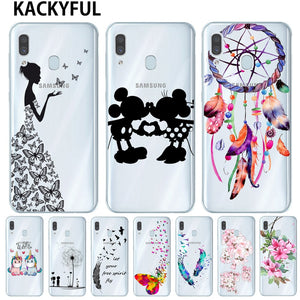 Cartoon Butterfly Pattern Soft TPU Silicone Phone Back Case Cover For Samsung Galaxy A10 A20 A30 A40 A50 A7 A9 2018 Flower Coque