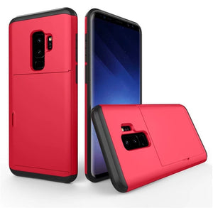 For Samsung Galaxy S10E S8 S9 Plus Note 4 5 8 9 Luxury Slide Credit Card Slot Hybrid Armor Silicone Case For S6 S7 Edge Cover