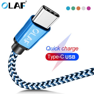 OLAF USB Type C Cable 1M 2M 3M Fast Charging Cable Type-C data Cord Charger USB-C For Samsung S8 S9 S10 Xiaomi Huawei P30 Pro