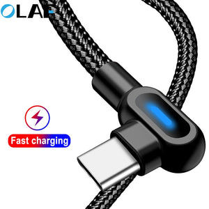 OLAF 90 Degree 1M 2M Fast Charging Micro USB Type C Cable For Samsung S8 S9 S10 Xiaomi Huawei LG Android Microusb USB-C Charger