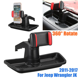 for Mobile Phone 360 Degree Rotation Car Dashboard Phone Holder Stand with Storage Box Universal For Jeep for Wrangler JK 2011+