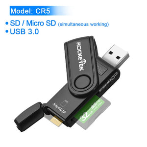 Rocketek usb 3.0 multi Smart memory card reader OTG type c adapter mini cardreader for micro SD/TF/CF/MS microsd computer Laptop