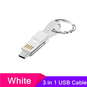 3 in 1 USB Cable Portable Magnetic Phone Charger Charging Cables Type C Micro USB Lighting 2A Mini Keychain For iPhone Samsung