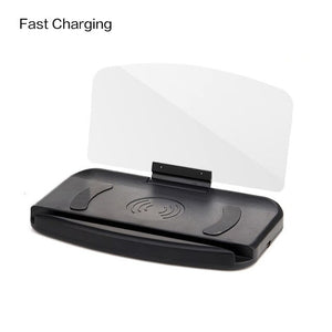 Qi Wireless Charger Pad With Universal Car HUD Head Up Display Mobile Phone GPS Navigation HUD Bracket For Mobile Phone