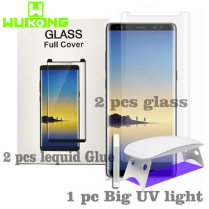2pcs Screen Protector For Samsung S9 Plus Note8 Note 9 S10e Plus Tempered Glass 1+7 Pro Liquid Full Glue UV for Huawei P30 pro