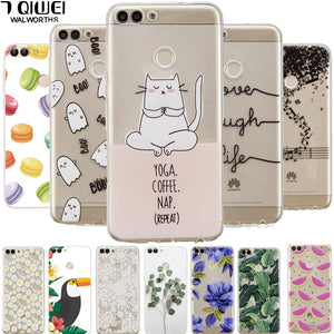 A 5.65'' Silicone Case For Huawei P Smart Case 2018 Cute Soft TPU Case for Huawei P Smart Cover PSmart for huawei enjoy 7s