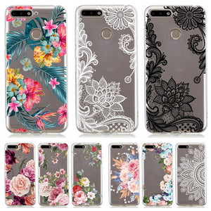 Case on for Coque Huawei P20 Lite P30 Pro Mate 20 Lite Honor 10 7A 7C Pro P Smart 2019 Y6 2018 Cases Flower Soft Silicone Cover