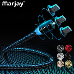 Marjay 360 Round Led Fast Charger Usb Cable for Iphone X XR XS MAX 5 5S SE 6 S 6S 7 8 Plus iPad Phone Origin long Cord Charge