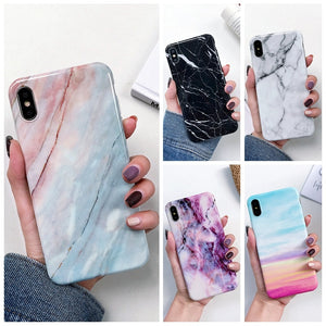 Luxury Marble Case on for Coque Samsung Galaxy A7 2018 Cover for Samsung A7 2018 A750F A50 A30 A20 A10 Silicone Soft Phone Cases