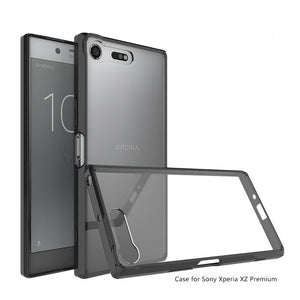 Hot Hybrid Shockproof Cover Air Cushion Frame Case With Acrylic Crystal Clear Back Shell For Sony Xperia XZ Premium Fundas Coque
