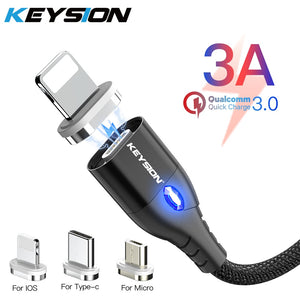 KEYSION USB-C Magnetic Cable For Samsung Galaxy A70 A50 A30 A20 Cable 1M 3A Fast Charging Wire Type-C Magnet Charger Phone Cable