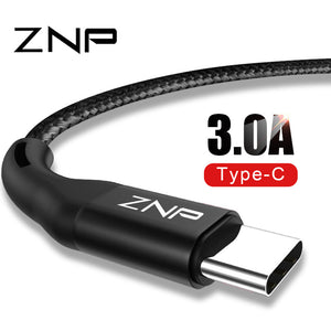 ZNP USB Type C Cable 3.0 Fast Charger For Samsung S10 S9 A50 Mobile Phone Type-C USB Data Cord For Huawei P30 Pro Type C Cable