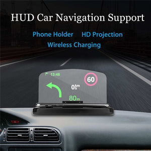 Mobile Phone Car Holder Mount pad wireless charger Universal Windscreen Projector HUD Head-Up Display For iPhone/Samsung GPS S30