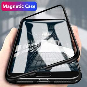 Magnetic Case for OnePlus 7 7Pro Pro 6T Metal Frame Magnet Flip Cover for One Plus 6T 5T Cover for Oneplus 6 6t Glass Back Cover