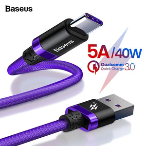 Baseus 5A USB Type C Cable For Huawei Mate 20 P30 P20 Pro Lite Mobile Phone USBC Fast Charging Charger Cord USB-C Type-C Cable