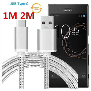 Type C Cable For Sony Xperia XZ Premium XZS XZ1 XZ2 X Compact XA1 Plus XA2 Ultra L1 L2 Data Charging Line Charger Cable 2m