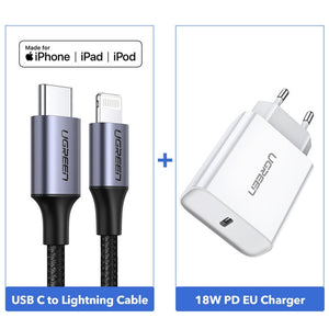 Ugreen MFi USB C to Lightning Cable for iPhone X XS Max XR 36W PD Fast Charger Type C Data Cable for Macbook iPad iPod USB Cord