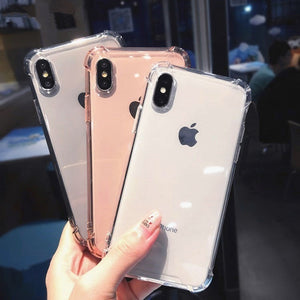 Crispyfish Shockproof Bumper Transparent Silicone Phone Case For iPhone X XS XR XS Max 8 7 6 6S Plus Clear protection Back Cover