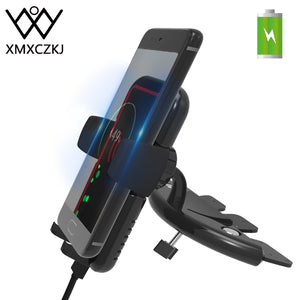 XMXCZKJ 10W Qi Wireless Charger Charge Cell Mobile Phone Holder Support For iPhone X Car Cd Slot Mount Clamp Fast Charging Stand