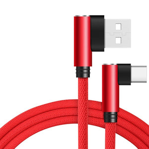 REZ 90 Degree Type C USB Cable for Huawei P20 P30 Pro Fast Charging USB C Cable For Samsung S10 S9 Xiaomi Redmi USBC Data Cable