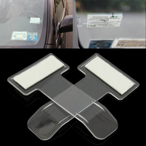 2pcs/set Car Vehicle Parking Ticket Permit Holder Clip Sticker Windscreen Window Fastener Stickers Kit Car Styling Accessories