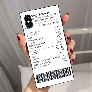 Square Receipt for Iphone X XR mobile phone shell Apple 6 7 8 plus Shopping Single White XSMAX Anti-fall All-inclusive