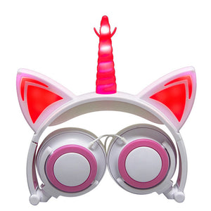 LIMSON Wired Foldable Earphones Animal Cat Ear Flashing LED Unicorn Kids Headphones for boys and girls