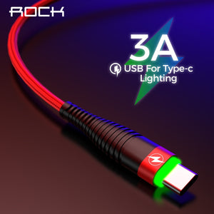 ROCK Type C 3A LED Light USB Type C Cable USBC Fast Charging QC 4.0 Charger Type-c Lighting Cable For Samsung S10 S9 Xiaomi 9 8