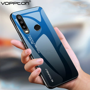 For Huawei Honor 10i Case Gradient Tempered Glass Hard Case For P Smart Plus 2019 Soft TPU Silicone Frame Hard Glass Back Cover