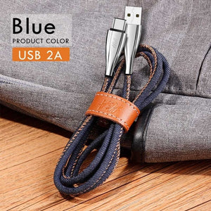 H&A 1m 1.8m USB Type C Luxury Fast Charging usb c cable Denim Type-c data Cord Charger usb-c For Samsung S8 S9 S10 Plus Xiaomi