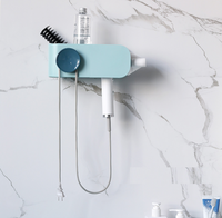 Hair Dryer Holder Wall Mount Organizer with Shelf Rack Stand (Hidden)