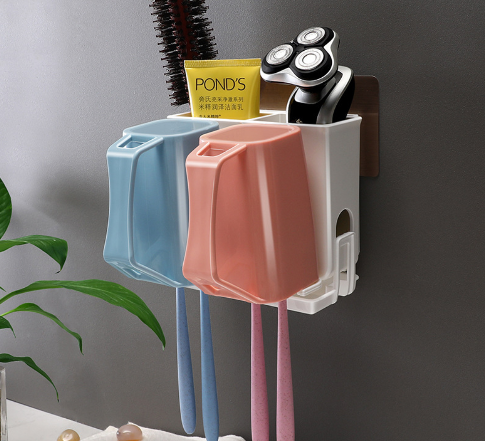 Wall Mount Toothbrush Holder - Shelf, Drip Tray 2 Cups