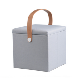 Folding Ottoman Storage Cube with Leather Strap