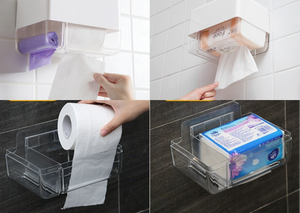 Waterproof Bathroom Toilet Roll Holder with Shelf Wall Mount