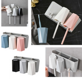 Elegant Wall Mount Bathroom Toothbrush Holder with Shelf 3 Cups