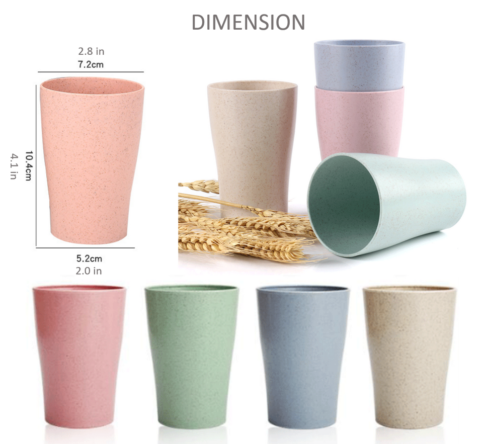 4 Pack Durable Lightweight Wheat Straw Cups Set