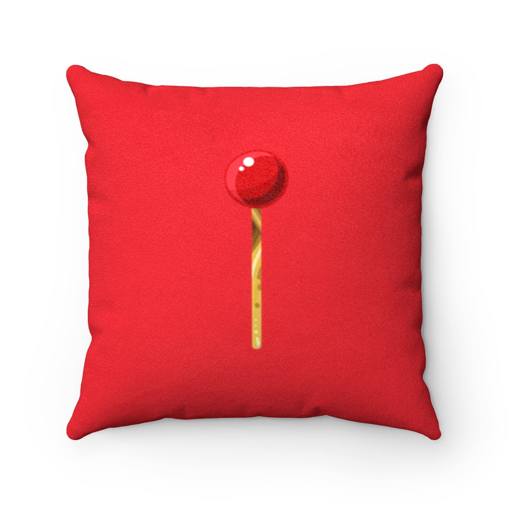 Red Lips Faux Suede Pillow