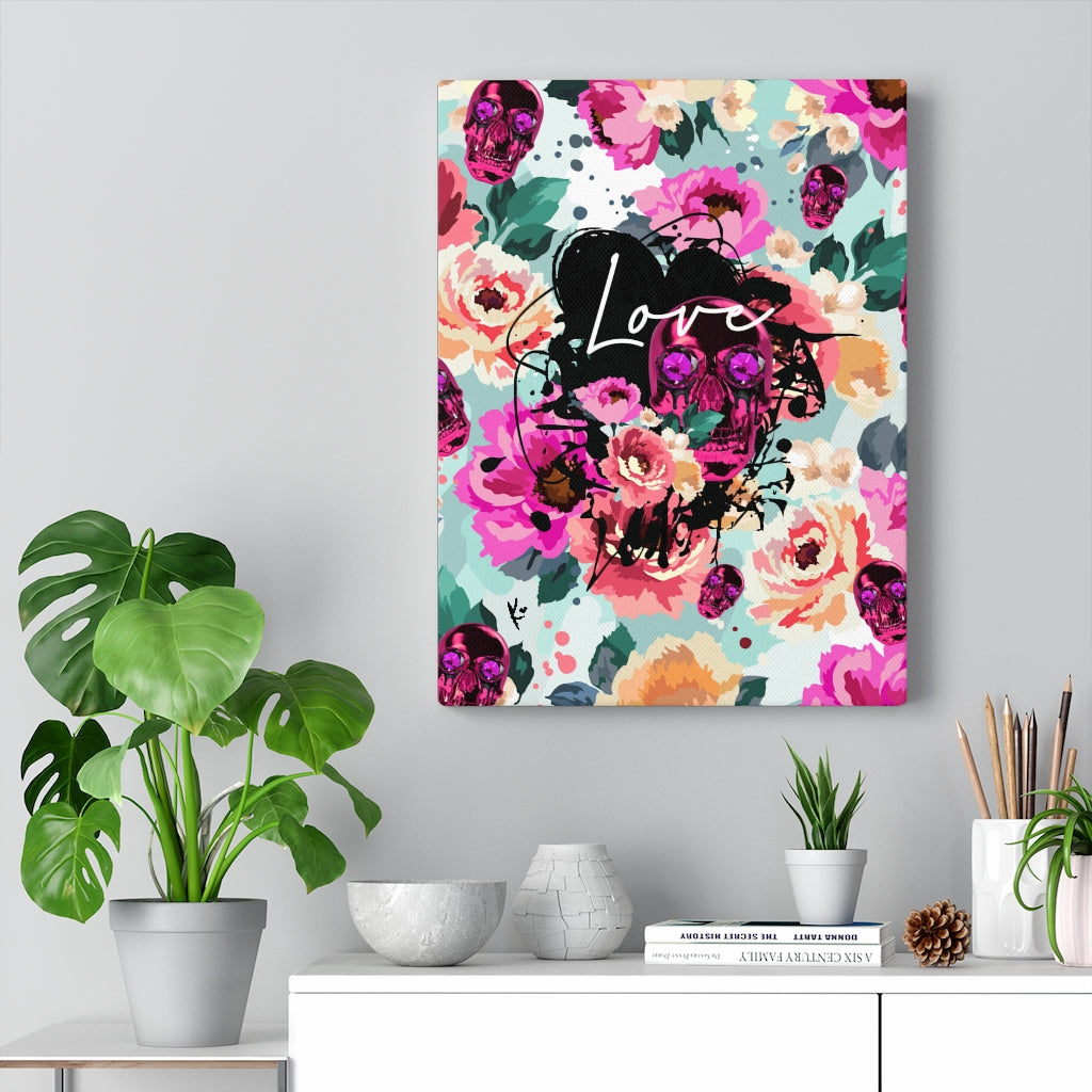 Love Pink Skull Flower Canvas Print