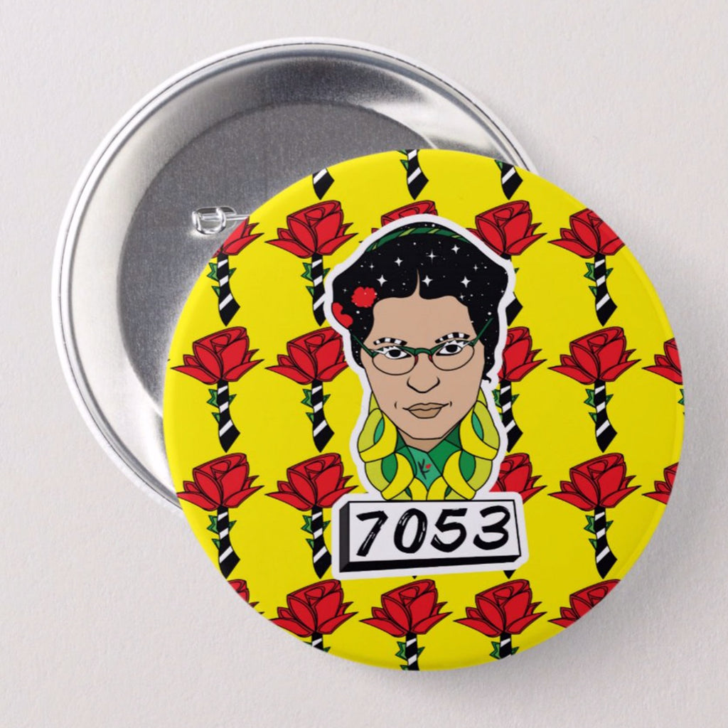 Rosa Rocks Button
