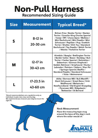 Non Pull Harness Size Chart