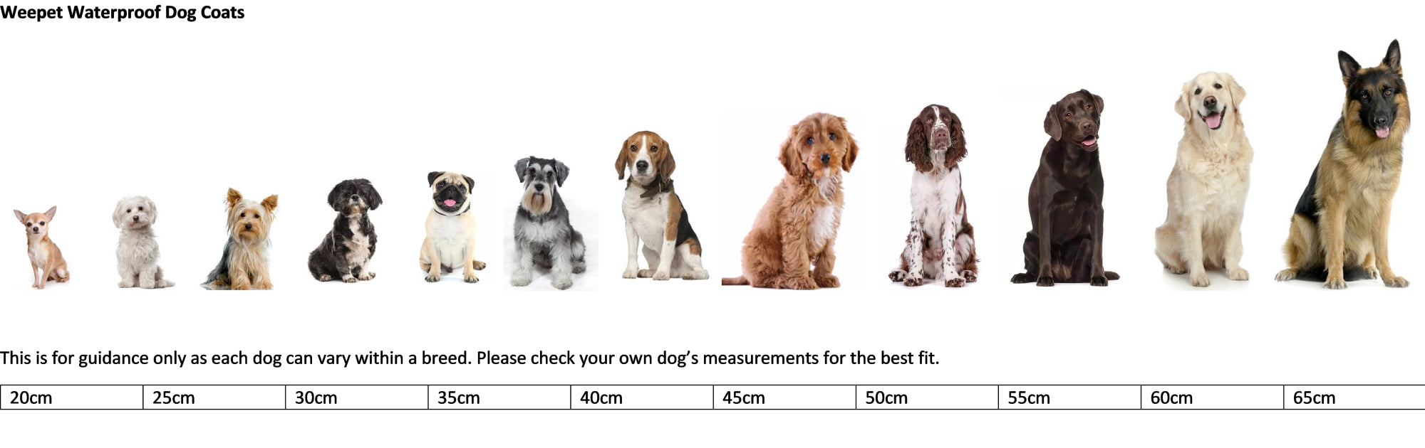 Waterproof dog coat by dog breed sizing