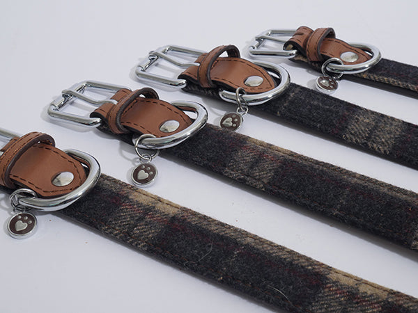 Luxury Tweed Check Dog Collar