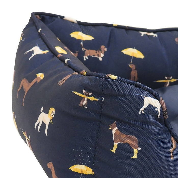 Joules Dog Print Rectangular bed for dogs