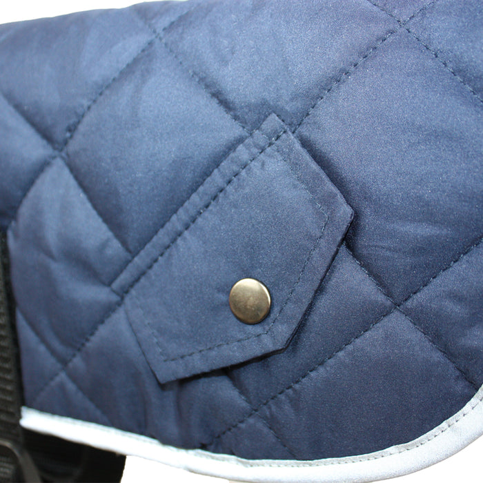 Go Walk Quilted Comfort Dog Coat in Navy Blue